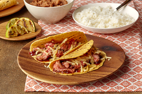 Cheesy BBQ Tacos with Flank Steak