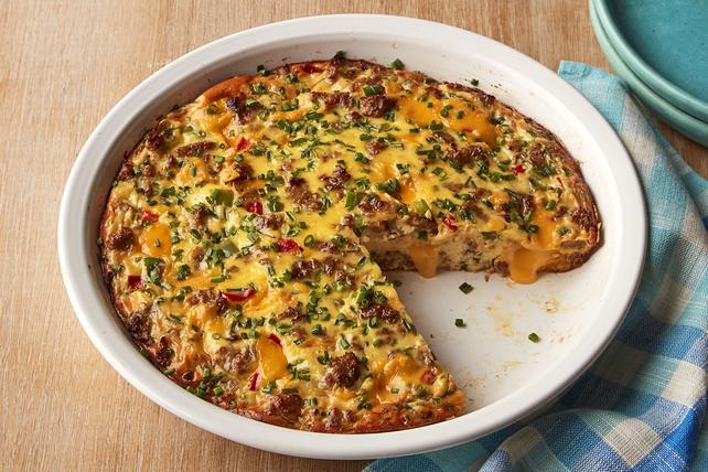 Frittata aux saucisses, au fromage et aux poivrons Image 1
