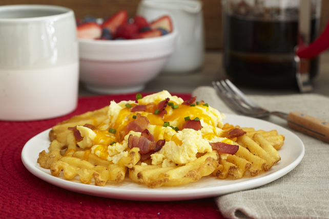 Cheesy Eggs| Bacon and Morning Fries