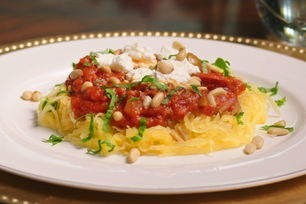 Spaghetti Squash with Chorizo alla Puttanesca