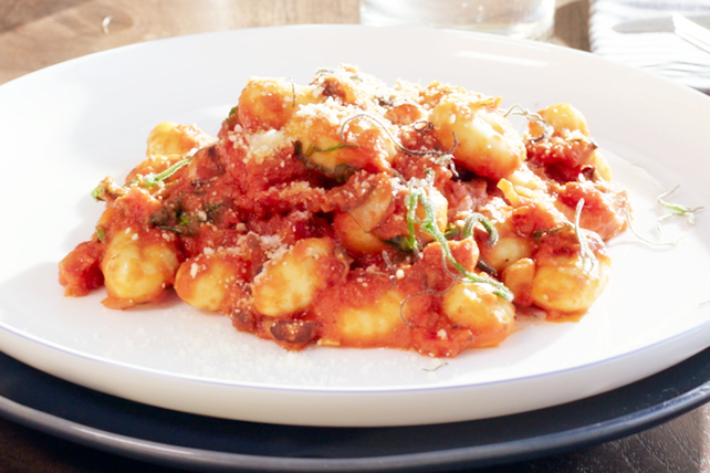Potato Gnocchi with Pancetta, Sage & Roasted Garlic Sauce Image 1