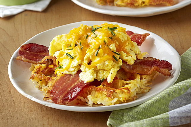 Bacon, Egg and Cheese Hash Brown Waffles Image 1