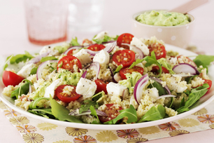 Greek Salad with Couscous and Smashed Avocado