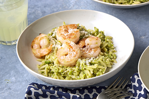 Shrimp Orzo with Pea and Mint Pesto