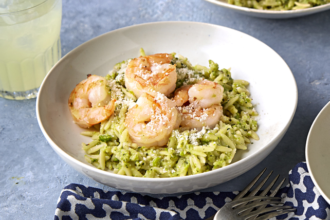 Shrimp Orzo with Pea and Mint Pesto Image 1