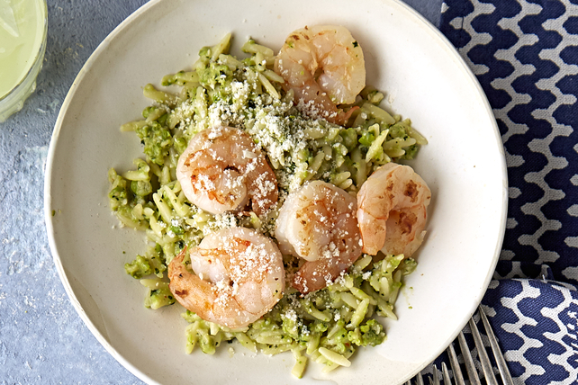 Shrimp Orzo with Pea & Mint Pesto Image 1