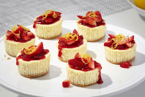 Strawberry 'Lemonade' Mini Cheesecakes