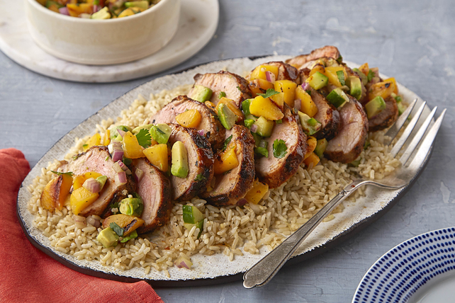 Grilled Pork Tenderloin with Peach-Cucumber Salsa Image 1