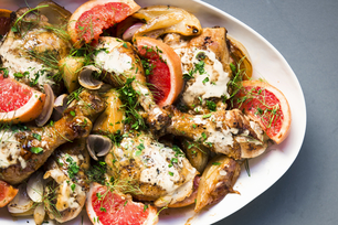 Roasted Chicken Pieces with Pink Grapefruit and Fennel