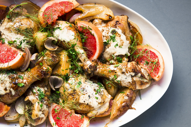 Roasted Chicken Pieces with Pink Grapefruit and Fennel Image 1
