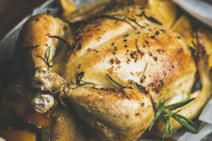 Roasted Whole Chicken with Rosemary and Oranges