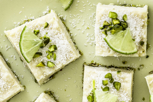 Lime, Coconut and Pistachio Cheesecake