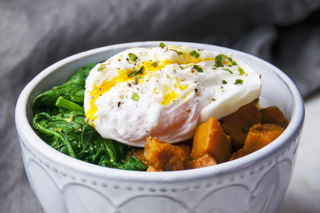 Poached Egg, Sautéed Greens and Sweet Potato Bowl Image 1