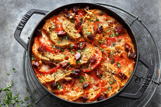 Spicy Oven-Baked Bread with Tomatoes and Chorizo Casserole Image 1