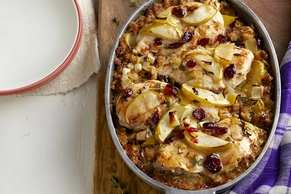 One-Pan Chicken Bake with Apple Stuffing