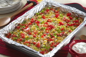 Make-Ahead Cheesy Veggie Taco Quinoa Bake