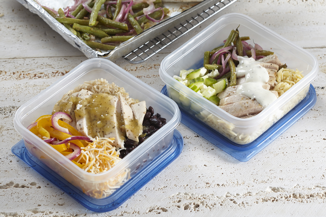 One-Pan Greek & Fiesta Chicken Meal Prep Bowls Image 1