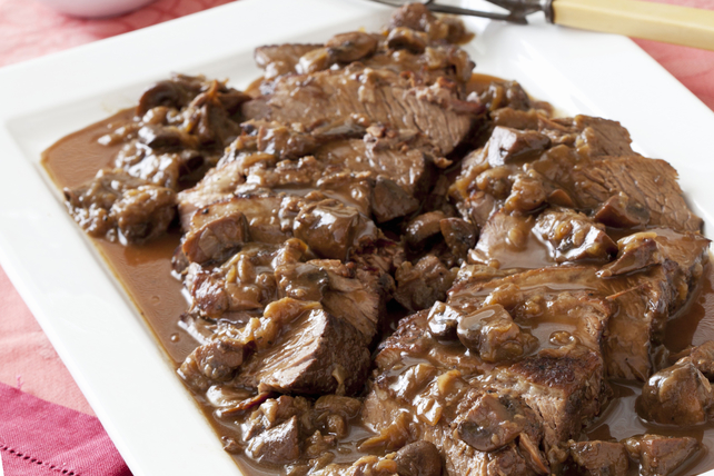 Braised Beef Brisket with Mushrooms, Onions and Gravy Image 1
