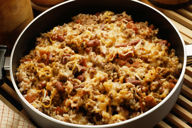 One-Pot Cheesy Sausage, Beans and Rice Dish Image 1