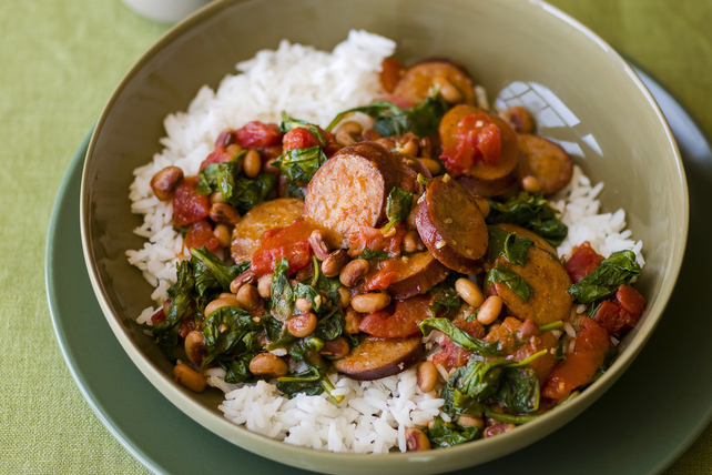 Sausage with Black-Eyed Peas and Spinach with Rice Image 1
