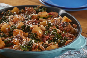 Rainbow Chard with Potatoes and Sausage