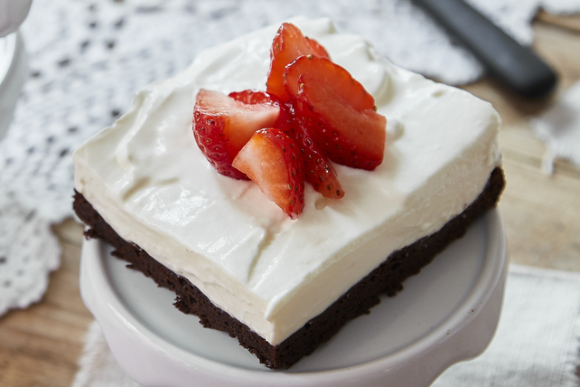 Brownie Cheesecake and Strawberries Image 1