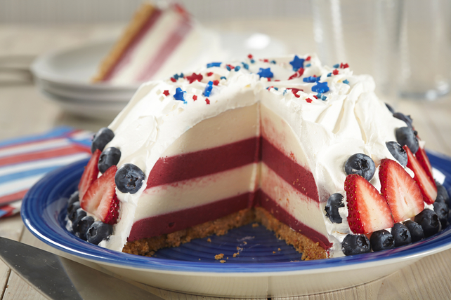 Red, White and Blue Cheesecake Dome Image 1
