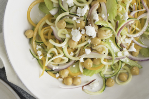 Spiralized Vegetable Salad with Chickpeas and Feta