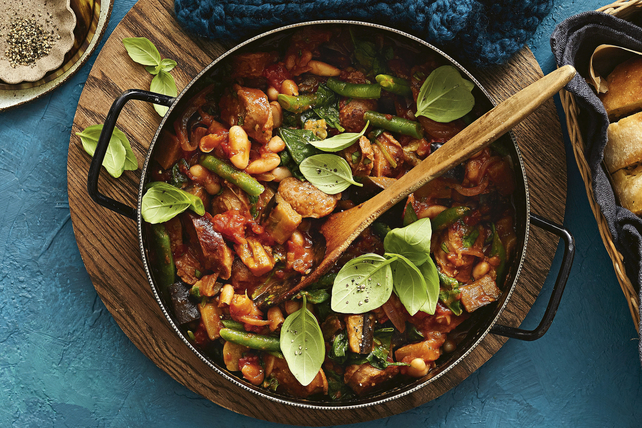 One-Pot Italian Stew with Sausage, Eggplant and Beans Image 1