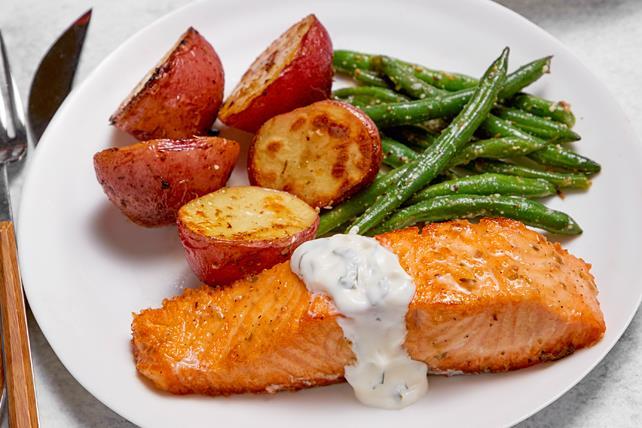 One-Pan Greek Salmon & Veggies Image 1