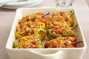 Tri-Color Vegetarian-Stuffed Peppers