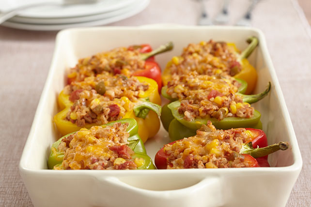 Tri-Color Vegetarian-Stuffed Peppers Image 1