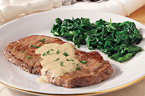 Steak with Brandied Blue Cheese Sauce