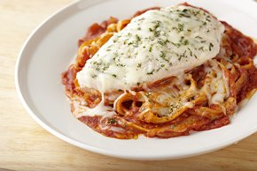 Baked Chicken Parmesan with Linguine