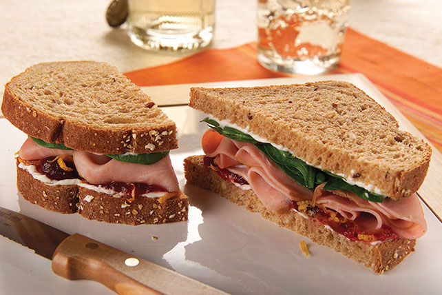 Cranberry, Ham and Cream Cheese Sandwich Image 1
