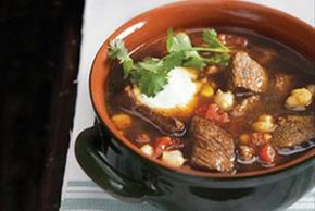 Beef Pozole with Cheddar Cheese