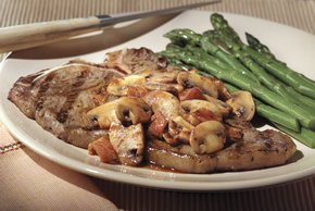 T-Bone Steak with Bacon-Mushroom Sauce