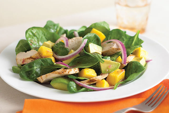 Chicken| Spinach and Mango Salad Recipe