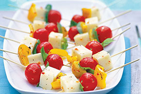 Roasted Pepper and Basil Skewers