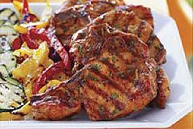 Chuletas de cerdo a la parrilla con cilantro  Image 1
