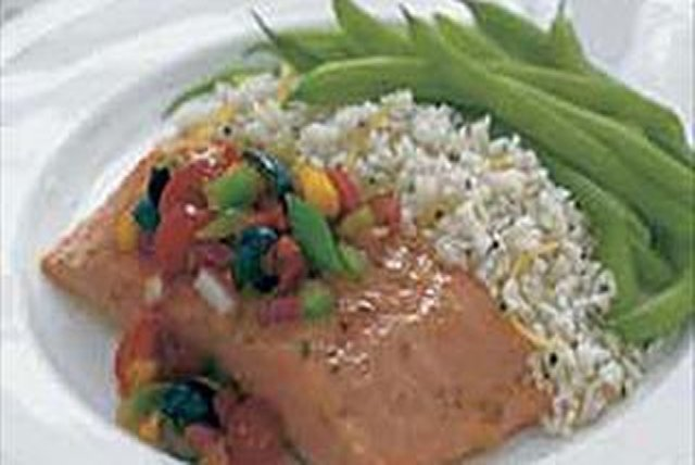 Baked Salmon with Black Olive Salsa Image 1