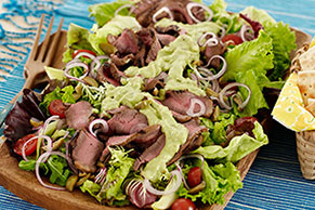 Grilled Steak Salad with Creamy Avocado Dressing