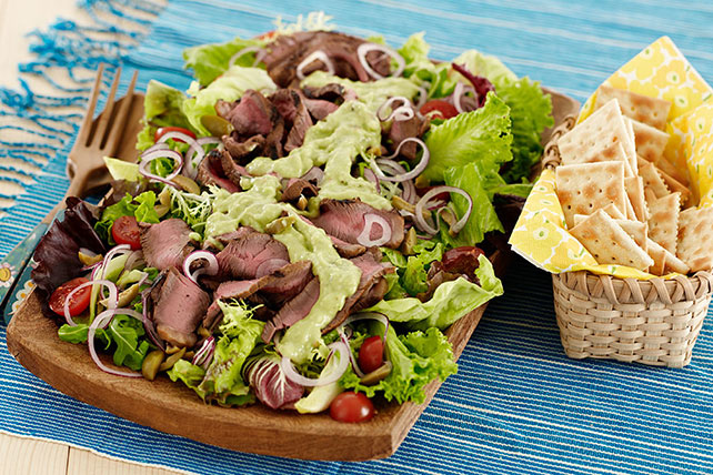 Grilled Steak Salad with Creamy Avocado Dressing Image 1