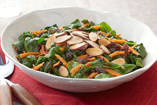 Sauteed Spinach with Carrots, Raisins and Almonds Image 1