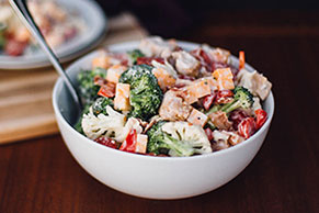 Broccoli, Cauliflower & Chicken Salad