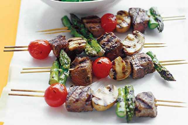 Sizzling Vegetable & Beef Kabob Recipe