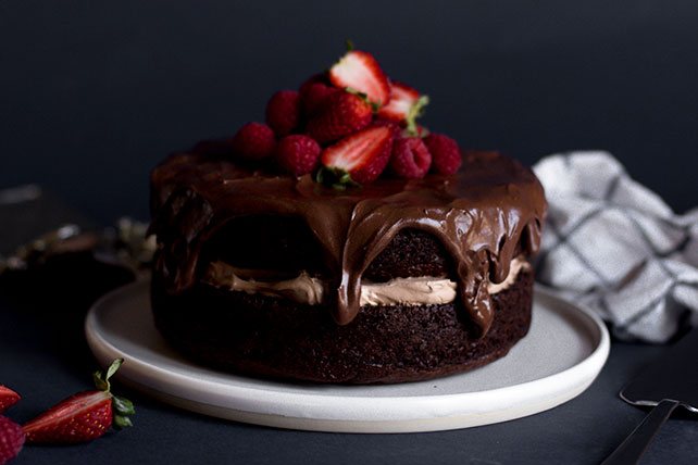 Glazed Sour Cream-Chocolate Cake