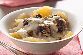 Slow-Cooker Apple Crisp with Warm Vanilla Sauce