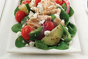 Greek Spinach Salad with Tuna