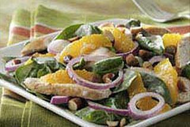 Citrus-Spinach Salad with Chicken and Smoked Almonds Image 1